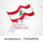 22 november. lebanon... | Shutterstock .eps vector #742464952