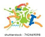 triathlon cyclist runner... | Shutterstock .eps vector #742469098