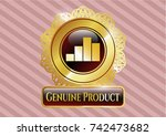 gold shiny emblem with chart... | Shutterstock .eps vector #742473682