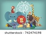 illustration of wild exotic... | Shutterstock .eps vector #742474198