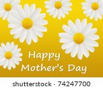 Mother's Day card with large white daisies isolated on a yellow background - stock photo