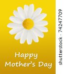 Mother's Day card with a large white daisy isolated on a yellow background - stock photo