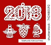 set of new year decoration  ... | Shutterstock .eps vector #742480192