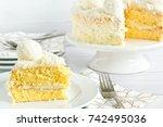 layered coconut sponge cake...   Shutterstock . vector #742495036