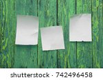 scraps placed on the green... | Shutterstock . vector #742496458