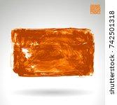 orange brush stroke and texture.... | Shutterstock .eps vector #742501318