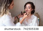 makeup artist preparing... | Shutterstock . vector #742505338