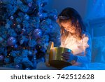 family on christmas eve. happy... | Shutterstock . vector #742512628