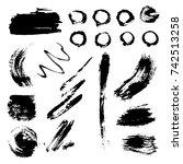 different grunge brush strokes... | Shutterstock .eps vector #742513258