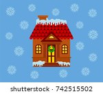 house with a facade decorated... | Shutterstock .eps vector #742515502