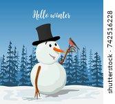 precious snowman in a hat.... | Shutterstock .eps vector #742516228
