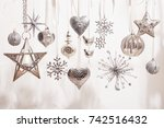 white and silver christmas... | Shutterstock . vector #742516432