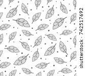 feather seamless pattern... | Shutterstock .eps vector #742517692