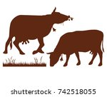 cow silhouette collection. ... | Shutterstock .eps vector #742518055