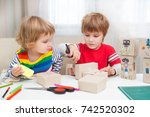 two little children together in ... | Shutterstock . vector #742520302