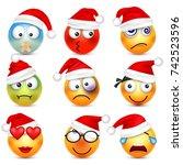 smiley emoticon set. yellow... | Shutterstock .eps vector #742523596