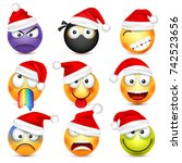 smiley emoticon set. yellow... | Shutterstock .eps vector #742523656