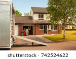 an outside view of a removals... | Shutterstock . vector #742524622