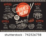 sushi menu for restaurant and... | Shutterstock .eps vector #742526758