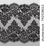 seamless vector black lace... | Shutterstock .eps vector #742528012
