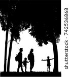 family reaching with backpacks... | Shutterstock .eps vector #742536868