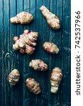 jerusalem artichokes  sunchokes ...   Shutterstock . vector #742537966