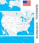 usa map and flag   highly... | Shutterstock .eps vector #742540696