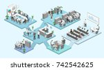 isometric flat 3d abstract... | Shutterstock .eps vector #742542625