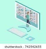 isometric interior of pharmacy. ... | Shutterstock .eps vector #742542655