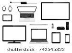 set of vector tv  computer... | Shutterstock .eps vector #742545322