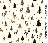 christmas seamless pattern with ... | Shutterstock .eps vector #742545586