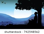 man meditating in sitting yoga... | Shutterstock .eps vector #742548562