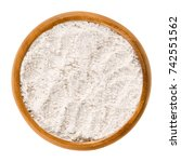 whole wheat flour in wooden... | Shutterstock . vector #742551562