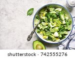 avocado salad with broccoli... | Shutterstock . vector #742555276