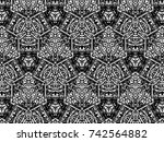 ornament with elements of black ... | Shutterstock . vector #742564882