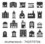 buildings vector icons set on... | Shutterstock .eps vector #742575736