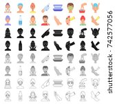 skin care set icons in cartoon... | Shutterstock .eps vector #742577056