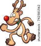 christmas reindeer running... | Shutterstock .eps vector #742581562