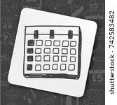 monthly calendar doodle drawing | Shutterstock .eps vector #742583482