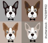french bulldog vector | Shutterstock .eps vector #742589902