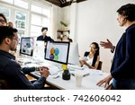 diverse business people working | Shutterstock . vector #742606042
