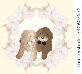 cute puppies with sakura flower ... | Shutterstock .eps vector #742607572