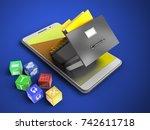 3d illustration of white phone... | Shutterstock . vector #742611718