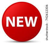 new isolated on red round... | Shutterstock . vector #742612306