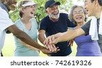 group of senior retirement... | Shutterstock . vector #742619326