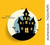 happy halloween design... | Shutterstock .eps vector #742619695