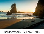 Second Beach near La Push at the Olympic National Park at sunset, Washington, USA,