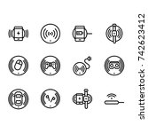 set of wireless charging icon... | Shutterstock .eps vector #742623412