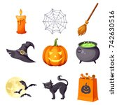 vector set of halloween symbols ... | Shutterstock .eps vector #742630516