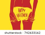 fashion halloween party poster  | Shutterstock .eps vector #742633162